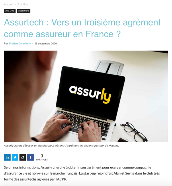 Assurly - 3eme neoassureur en france
